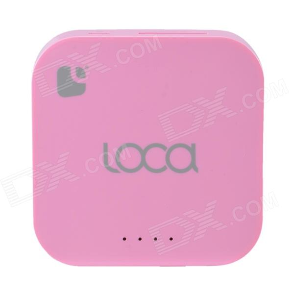 Loca Dual-USB 5200mAh External Battery Power Bank w/ LED Indicator / Flashlight - Pink 22000mah power bank w dual usb led flashlight for tablet pc pink