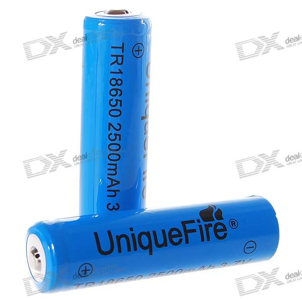 "UniqueFire 18650 3.7V ""2500mAh"" Lithium Batteries (2-Battery Pack)"