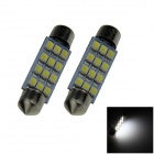 Festoon 41mm 1.2W 100lm 12 x SMD 1210 LED White Light Car Reading / Roof / Dome Lamp - (12V / 2 PCS)