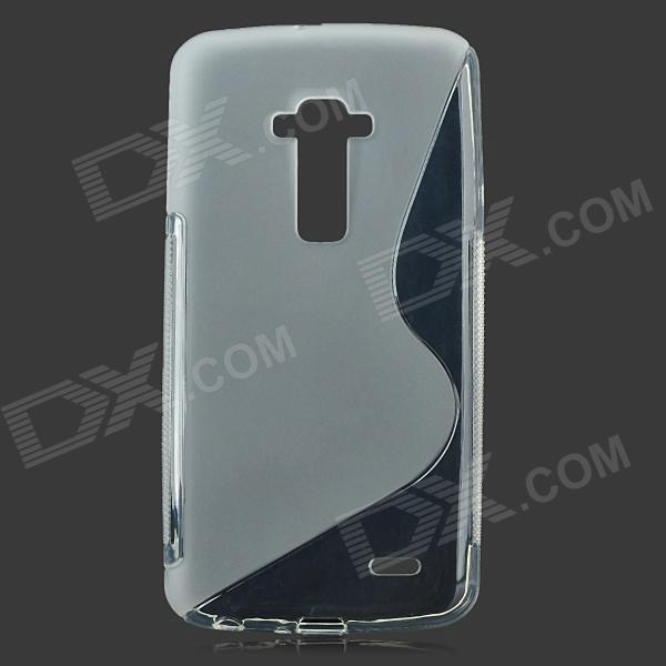 S Shaped Protective TPU Back Case for LG.G-FIEX - Translucent White protective silicone case for nds lite translucent white