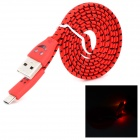 Woven-housing USB Male to Micro USB Male Data Sync & Charging Cable w/ Smiley LED Indicator for LG