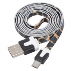 Leopard Pattern Micro USB Male to USB Male Flat Charging Cable for Samsung + More - Black (100 cm)