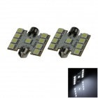 Girlande 36mm 1,8 W 160lm 9 x SMD 5050 LED White Light Car Lesen / Dach / Dome Lamp - (12V / 2 PCS)