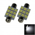 Festoon 41mm 1.8W 150lm 9 x SMD 5050 LED de luz blanca de coches Reading / techo / Dome Lamp - (12 V / 2 PCS)