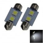 Festoon 36 milímetros 0.4W 30lm 2 x SMD 5050 LED White Light Car Reading / Telhado / Dome Lamp - (12V / 2 PCS)