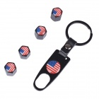 United States USA Flag Replacement Aluminum Alloy Car Tire Valve Caps + Key Ring Set - Black (4 PCS)
