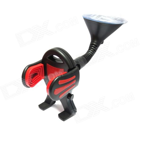 FLY S2158-Q Suction Cup Car Holder Bracket for Mobile Phone / GPS / MP4 / PDA - Red + Black