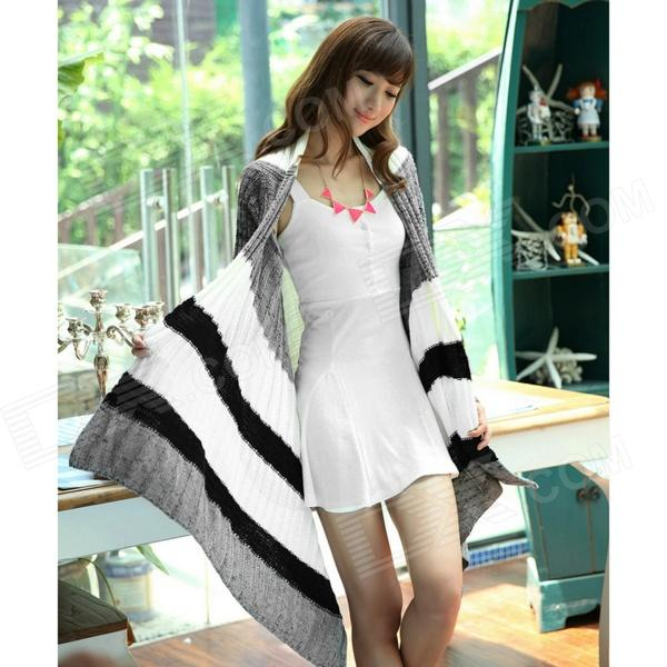 Fashionable Irregular Cardigan Sweater Coat - Grey + White (Size-L)