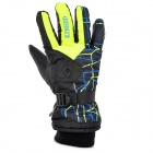 KINEED L1402 Skiing Warm Full-Finger Gloves - Yellowish Green + Black (Free Size / Pair)