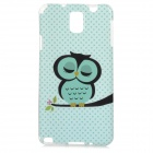 Sleepy Owl Style Protective TPU Back Case for Samsung Galaxy Note 3 N9000 - Green