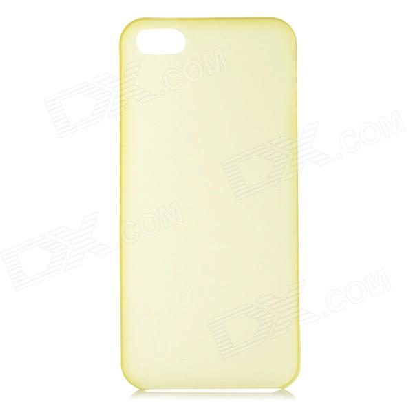 S-What 0.3mm Ultrathin Protective Frosted TPU Back Case for IPHONE 5 / 5S - Translucent Yellow holes pattern protective tpu back case for iphone 6 plus 5 5 yellow