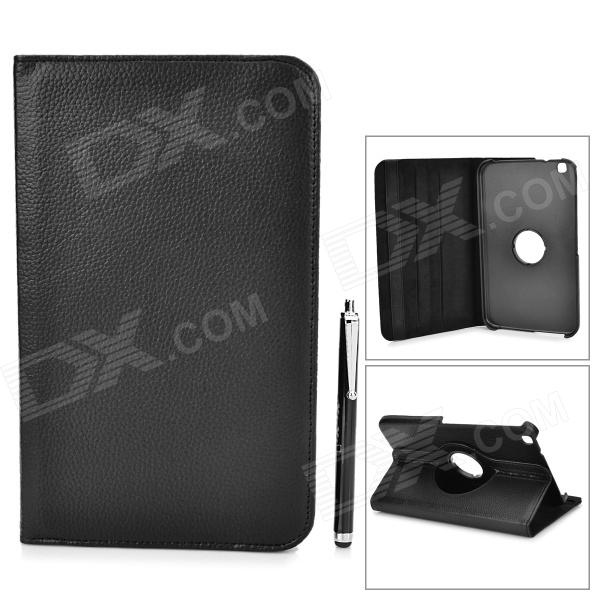 Protective Flip Open PU Leather Case w/ Stylus for Samsung Galaxy Tab 3 8.0 Tablet PC - Black universal 61 key bluetooth keyboard w pu leather case for 7 8 tablet pc black