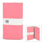 "Universal Protective PU Leather Case Cover w/ Card Slots for Cellphone within 4.7"" - Pink + White"