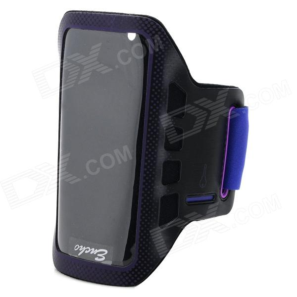 Convenient Stylish Neoprene + PVC Velcro Armband for IPHONE 5 / 5S / 5C - Black + Purple protective pvc neoprene armband w velcro for lg nexus 5 black grey
