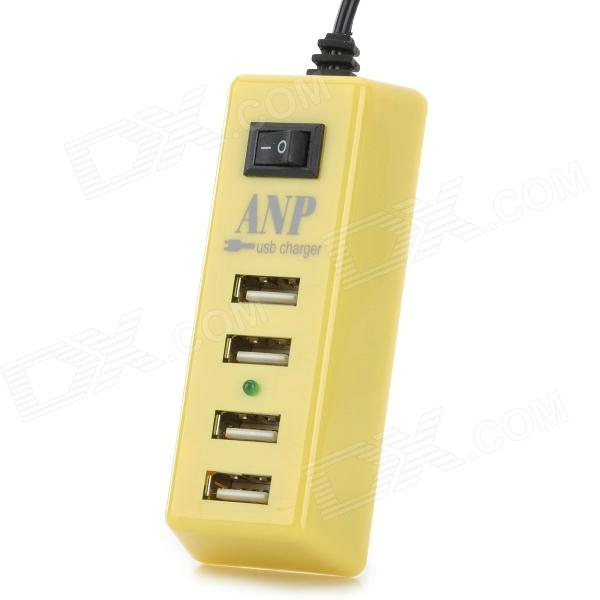 Portable USB 4-Port US Plug Power Charger for Tablets / Cellphone / PSP - Light Yellow + Black vina ups 001 intelligent 4 port usb 2 0 fast charger