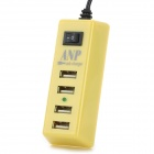 Portable USB 4-Port US Plug Power Charger for Tablets / Cellphone / PSP - Light Yellow + Black