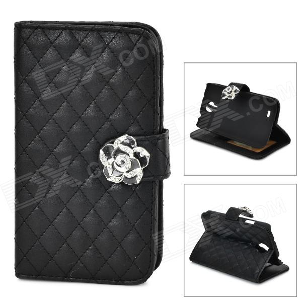 S4-I Protective PU Flip-Open Case w/ Stand for Samsung Galaxy S4 i9500 - Black non standard die cut plastic combo cards die cut greeting card one big card with 3 mini key tag card