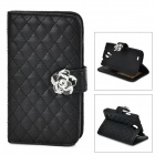 S4-I Protective PU Flip-Open Case w/ Stand for Samsung Galaxy S4 i9500 - Black