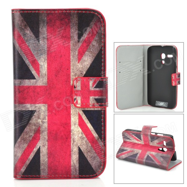 IKKI UK Flag Pattern PU Leather Case w/ Card Slot for Motorola MOTO G - White + Red + Multi-Colored ikki jellyfish pattern protective pu leather case w stand for motorola moto g black multicolor