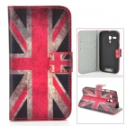 IKKI UK Flag Pattern PU Leather Case w/ Card Slot for Motorola MOTO G - White + Red + Multi-Colored