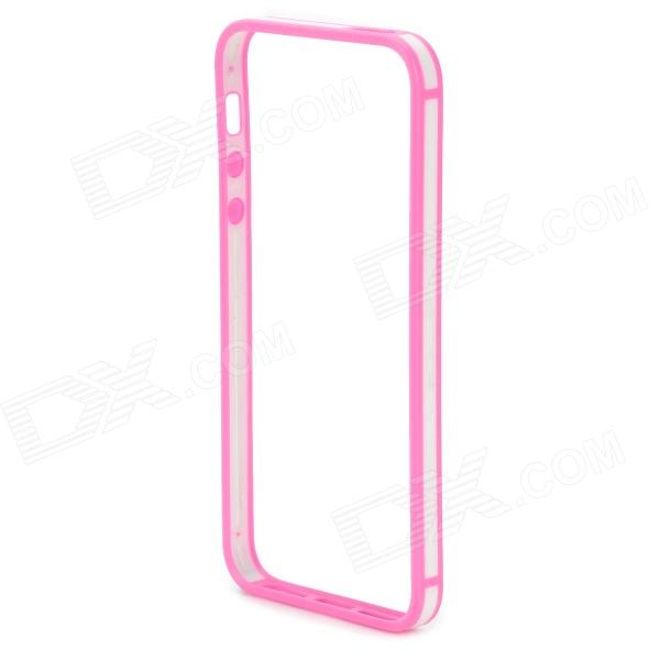 Protective TPU + PC Bumper Frame for IPHONE 5 / 5S - White + Pink s what protective detachable pc silicone bumper frame for iphone 5 5s 5c white pink