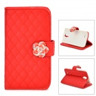 S4-i Soft PU Leather Flip-Open Case w/ Card Slot for Samsung Galaxy S4 i9500 - Red