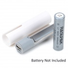 Portable 18650 Battery Bank Case Enclosure w/ LED Indicator / Flashlight - White + Light Grey