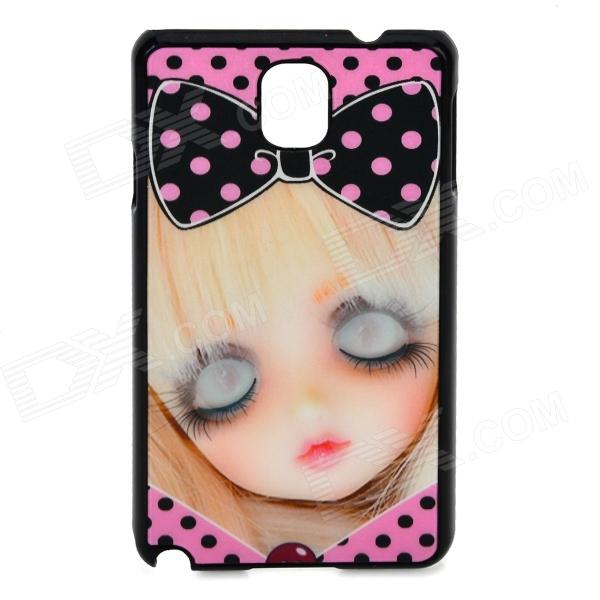 3D Girl Pattern Protective ABS + PC Back Case for Samsung Galaxy Note 3 - Black + Pink cartoon pattern matte protective abs back case for iphone 4 4s deep pink