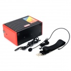 Portable Mini Hi-Fi Outdoor Battery Speaker w/ Microphone / USB / SD / Carrying Belt - Black + Red