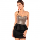 Elegant Paillette Strapless Tube Top Lotus Leaf Laciness Fashion Women Strapless Dress (L)