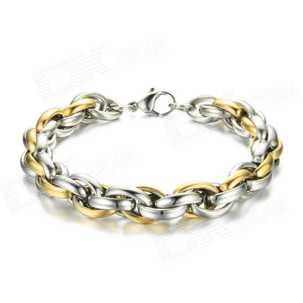 EQute BSSM5C3 316L Stainless Steel Golden Link Bracelet 9 316l stainless steel round bar diameter 40mm 50mm length 300mm metal rod