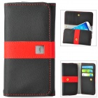 "Universal Protective PU Leather Case Cover w/ Card Slots for Cellphone within 4.7"" - Black + Red"