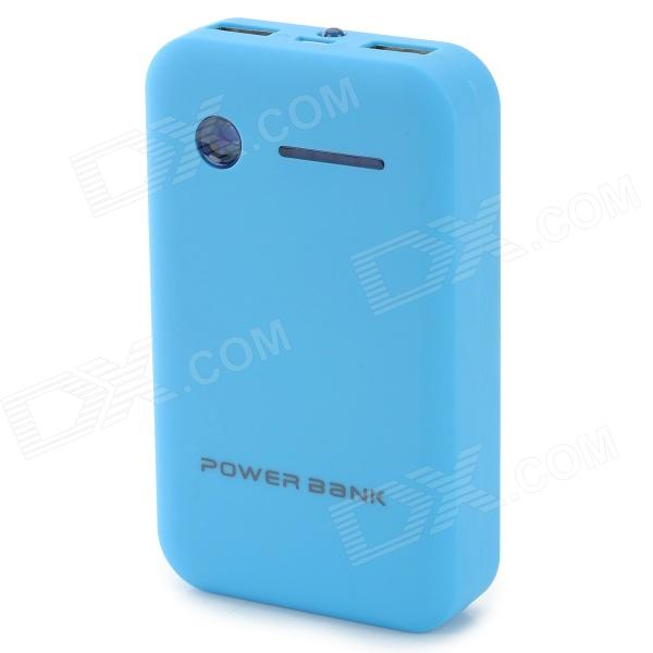 Dual USB 5V 8600mAh Li-Polymer Battery Power Bank w/ LED for IPHONE 5 / 5S + More - Blue + Black