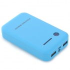 "Dual USB 5V ""8600mAh"" Li-Polymer Battery Power Bank w/ LED for IPHONE 5 / 5S + More - Blue + Black"
