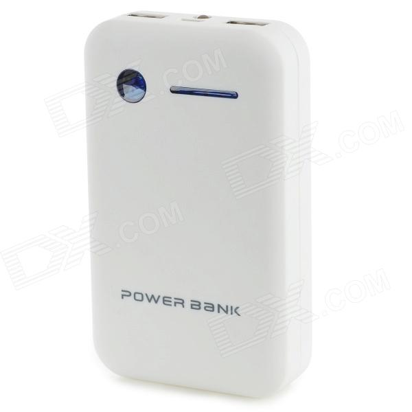 Dual USB 5V 8600mAh Li-Polymer Battery Power Bank w/ LED for IPHONE 5 / 5S + More - White + Black