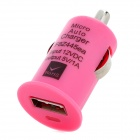 A008 USB 2.0 Car Cigarette Lighter Power Charger - Pink (12V)