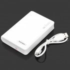 Portable 10000mAh Mobile Power Bank w/ Dual USB + LED Flashlight - White