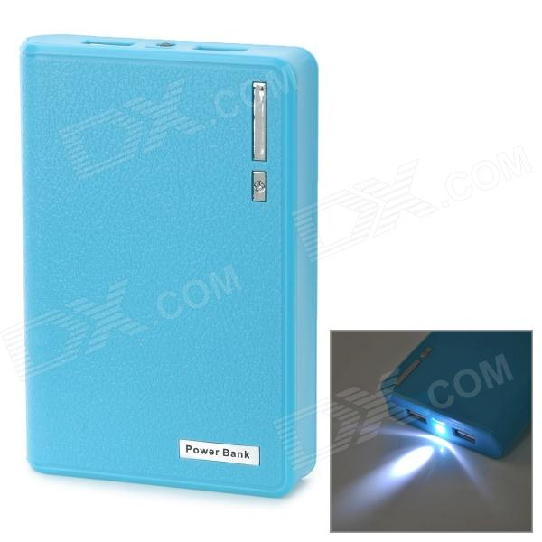 Portable 10000mAh Mobile Power Bank w/ Dual USB + LED Flashlight - Blue 5200mah mini rechargeable mobile power bank for cellphone tablet pc more blue white