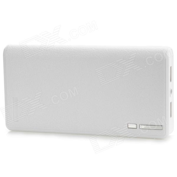 6A Universal Dual USB Portable Power Charger Case w/ LED - White (6 x 18650) portable universal 6600mah dual usb