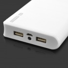 6A Universal Dual USB Portable Power Charger Case w/ LED - White (6 x 18650)