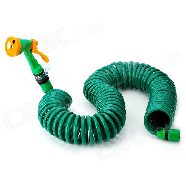 Car Wash Nozzle Spray Head Water Gun w/ Coiled Spring Hose - Dark Green