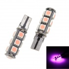 Merdia T10 3W 250lm 13 x SMD 5050 LED Error Free Canbus Pink Light Car Indicator Lamp (12V / 2 PCS)