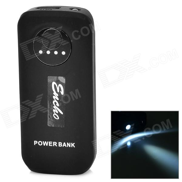 5V 5600mAh Li-ion Battery Power Bank w/ Light + USB Cable for Samsung - Black 36v 4400mah 4 4ah dynamic li ion lithium ion rechargeable battery for self balance electric scooters power bank