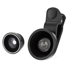 LieQi LX-WJ768 3-in-1 Wide + Macro + Fisheye Lens Set for Cellphones / Tablets + More - Black