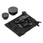 LieQi LQ-003 3-in-1 Wide + Macro + Fisheye Lens Set for Cellphones / Tablets + More - Black