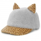 DG0905 Fashionable Leopard Pattern Ears Style Women's Hat - Grey + Yellow + White