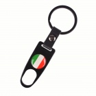 Italy Flag Replacement Aluminum Alloy Car Tire Valve Caps + Key Ring Set - Black (4 PCS)