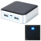 Portable Universal 6600mAh Dual USB Solar Power Bank for IPHONE / IPAD / IPOD - White (5V)