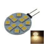 G4 2.4W 160lm 12 x SMD 5050 LED Warm White Polarity Free Car Instrument Light / Reading lamp - (12V)