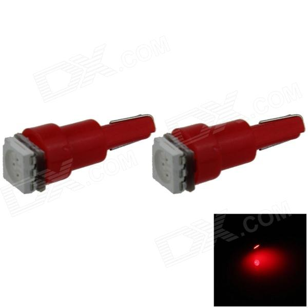 T5 0.2W 18lm 1 x SMD 5050 lâmpada LED Red Light Car Instrumento Lamp / Indicador - (DC 12V / 2 PCS)